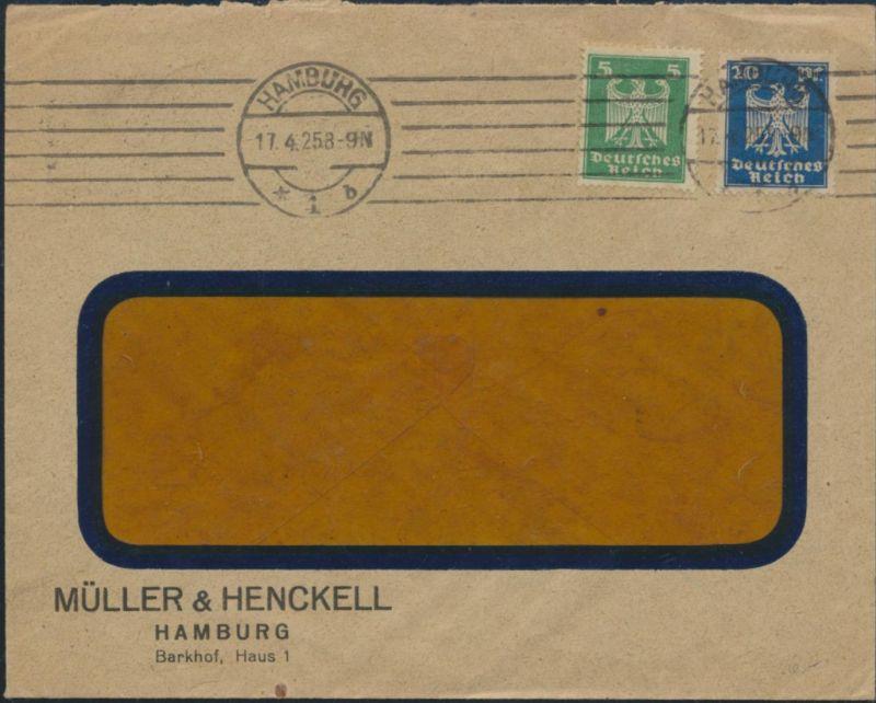Deutsches Reich Auslandsbrief 356X +358  Hamburg nach Rauma Finnland 17.4.1925