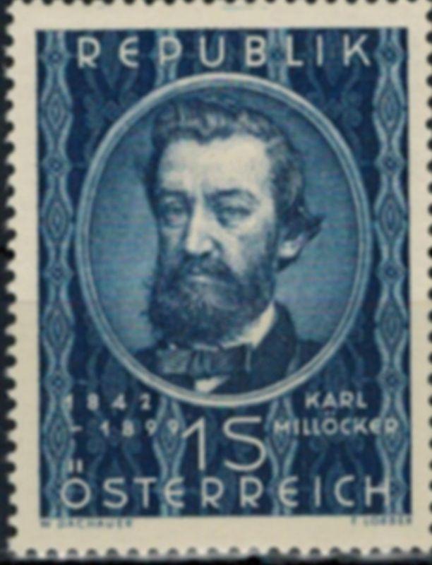 Österreich Karl Millöcker Komponist Musik 947 postfrisch 1949 Kat.-Wert 25,00