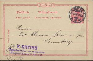 Deutsches Reich Ganzsache P 45 Metz nach Luxembourg 22.11.1901