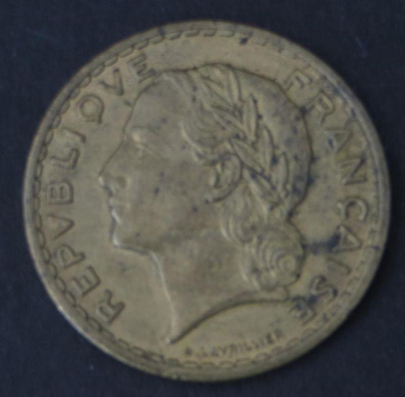 Münze Frankreich 5 Francs 1940 Belorbeerter Kopf der Marianne ss