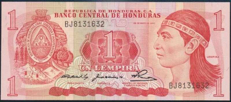 Geldschein Banknote Honduras 1 Lempira 1980 P-68a bankfrisch UNC