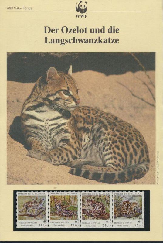 WWF El Salvador 1734-1737 Ozelot und Langschwanzkatze kpl. Kapitel bestehend