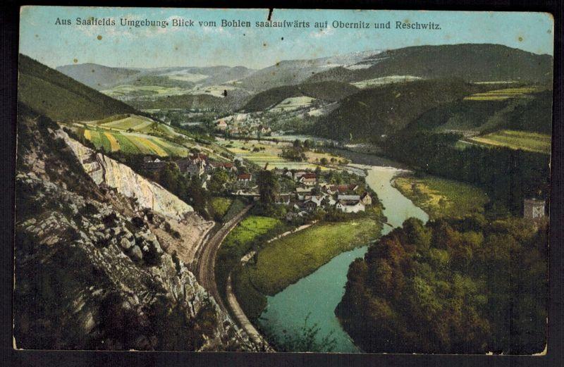 Ansichtskarte Saalfeld Thüringen Umgebung gelaufen Feldpost 1914 nach Frankreich
