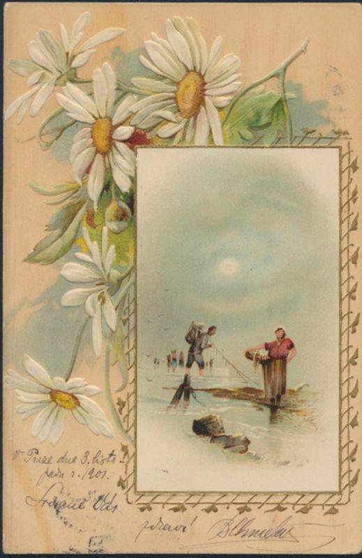 Ansichtskarte Künstler Prägekarte Prag 1901 Fischer Meer