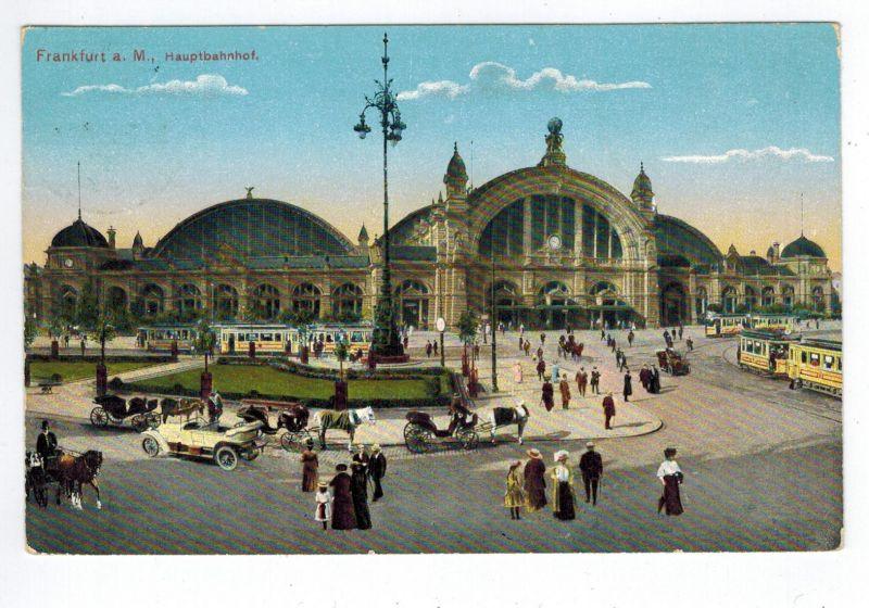 Ansichtskarten Topographie Deutschland Frankfurt am Main Hauptbahnhof gelaufen