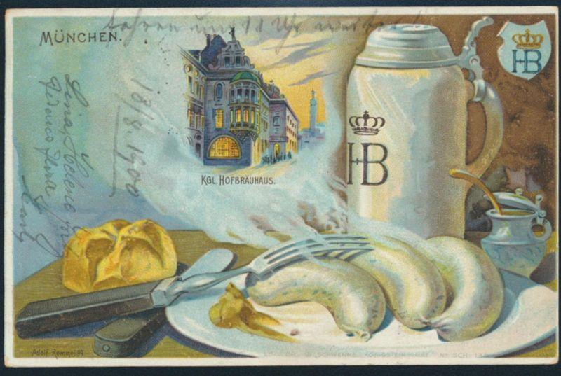 Ansichtskarten Litho München Hofbräuhaus Weißwurst nach Augsburg 1900