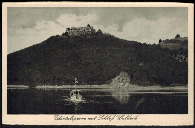 Ansichtskarte Edertalsperre mit Schloß Waldeck Hessen