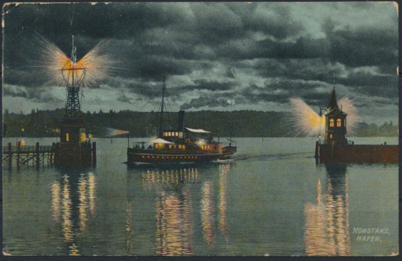 Ansichtskarte Seefahrt Schiffe Konstanz Hafen Leuchtturm 1910 nach Brüssel