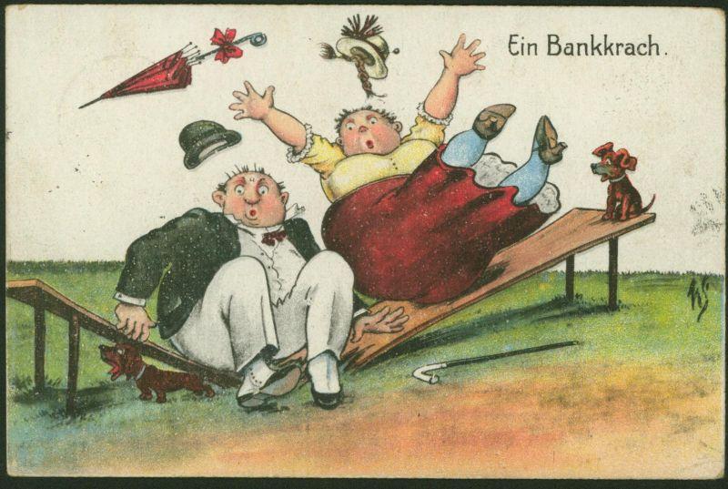 Ansichtskarte Scherzkarte Ein Bankkrach gelaufen Brambach 1923