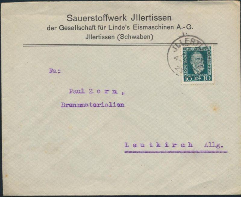 Deutsches Reich Brief EF 368 Jllertissen nach Leutkirch 16.2.1925
