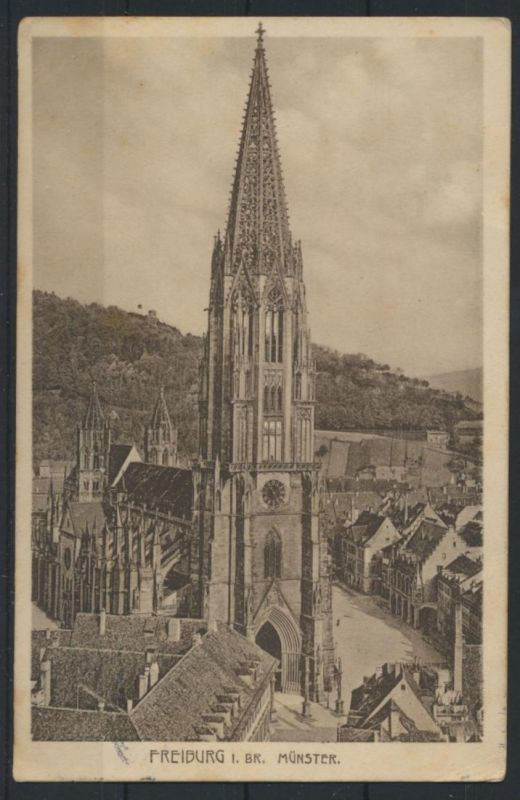 Ansichtskarte Freiburg Münster 1913 nach Münster