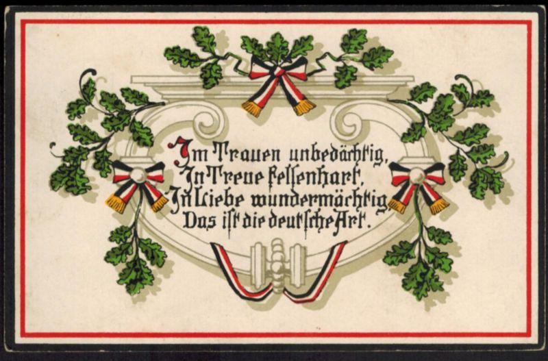 Ansichtskarte I. WK. Spruch Eichenlaub Feldpost Weimar Thüringen 1915