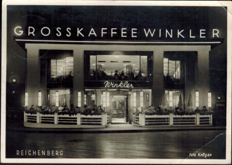 Ansichtskarte Reichenberg Grosskaffe Winkler Sudetenland 1940 nach Prien Bayern