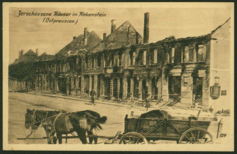 Ansichtskarte Hohenstein Ostpreußen zerschossene Häuser Ostpreußenhilfe Pferde