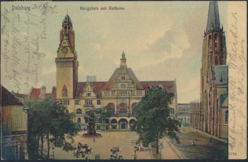 Ansichtskarte Burgplatz mit Rathaus Duisburg nach Remscheid über Burscheid 1906