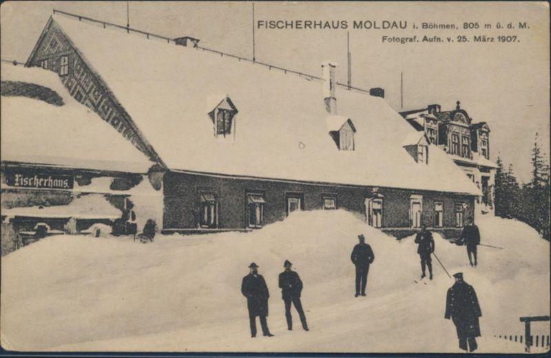 Ansichtskarte Foto Fischerhaus Moldau Moldava Böhmen Aufn. 1907 Hroby Bilin 1925