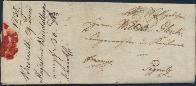 Altdeutschland Vorphila Bayreuth nach Pegnitz auf kompl. Faltbrief 29.8.1838