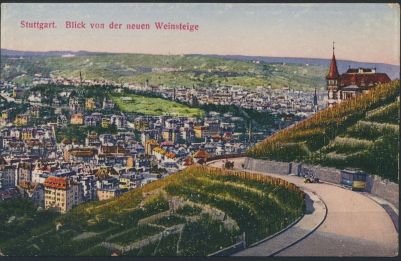 Ansichtskarte Künstler Blick von der neuern Weinsteige Stuttgart Straßenbahn