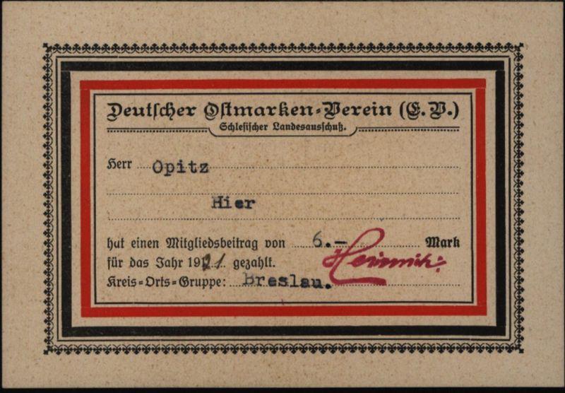 Heimat Karte Breslau Schlesien Deutscher Ostmarken - Verein 1921