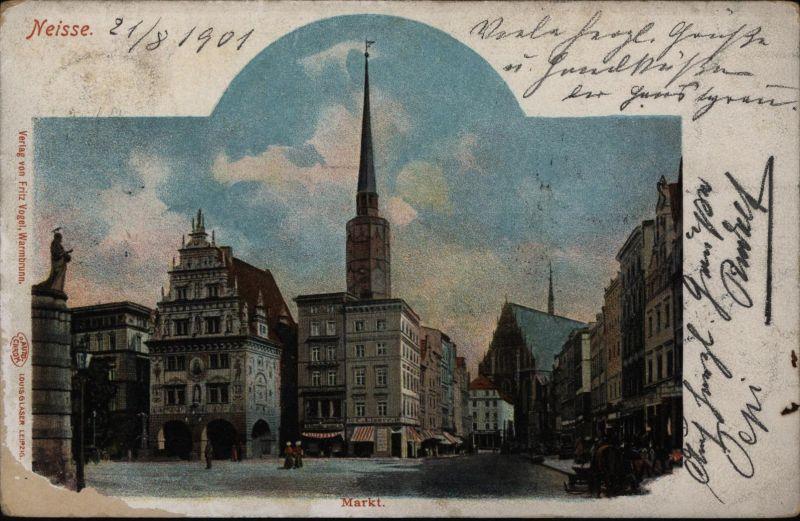 Ansichtskarte Neisse Schlesien Nysa Polen nach Brünn Österreich 1901
