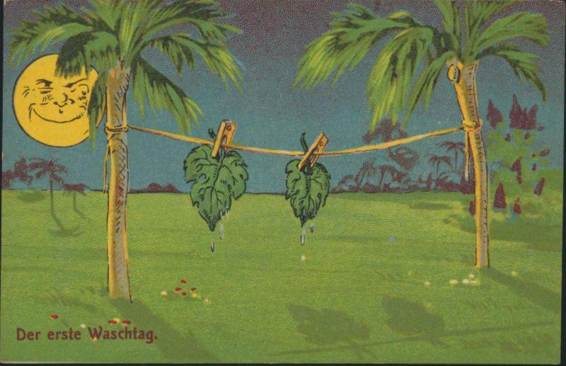 Ansichtskarte Künstler Humor handcoloriert Der 1. Waschtag etwa 1910 ungelaufen