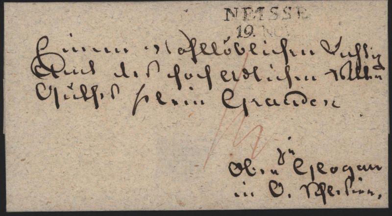 Preussen Vorphila L2 Neisse Nysa Schlesien möglich ab 1817