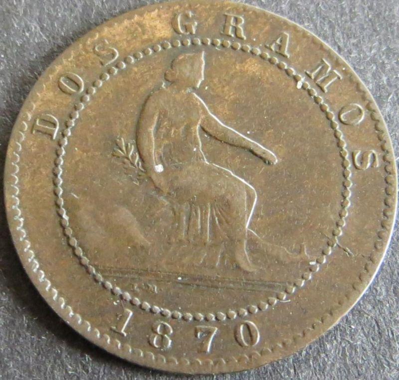 Münze Spanien 2 Centimos 1870 Schön: 141