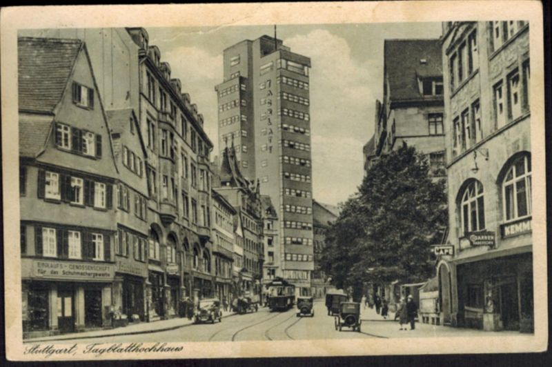 Ansichtskarte Stuttgart Straßenbahn Automobil Hochhaus Baden-Württemberg