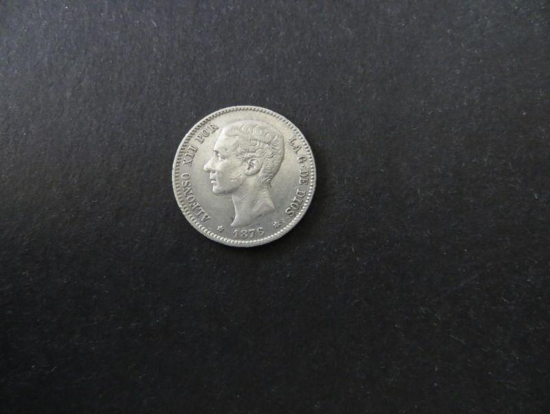 Münze Spanien Alfonso XII 1 Peseta 1876 Silber ss Schön: 164