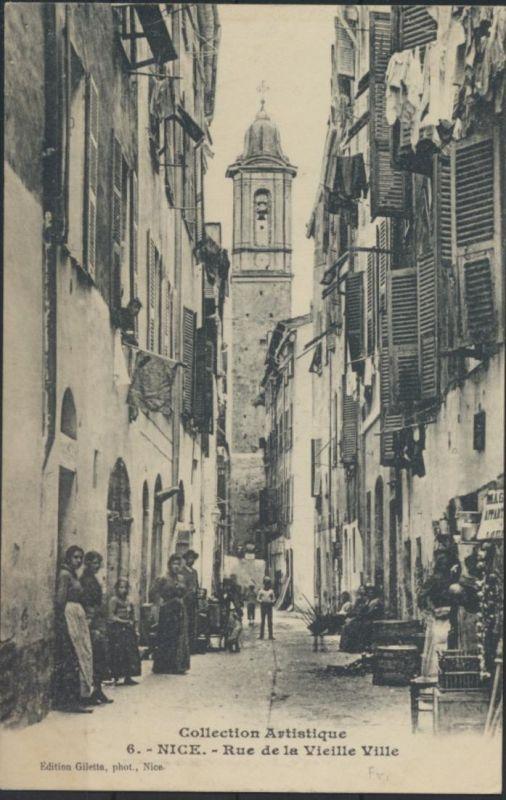 Ansichtskarte Foto Nizza Nice Rue de la Vieille Ville Passanten um 1900