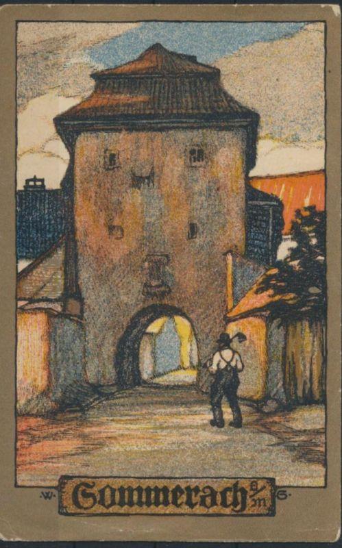 Ansichtskarte Künstlerkarte sign. W.G. 1909 von Würzburg nach Bonn