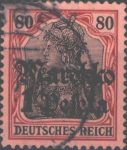 Deutsche Post Marokko 54 Germania 1 Peseta 1911 DAP Kolonien gestempelt
