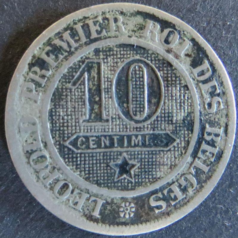 Münze Belgien 21 - 10 Centimes 1862 Wappenlöwe ss