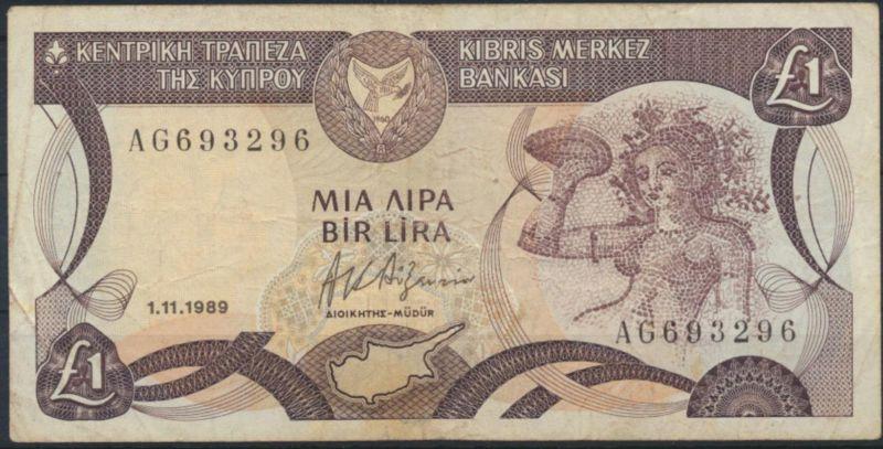 Geldschein Banknote Zypern Cyprus 1 Pound P53 VF ss 1989