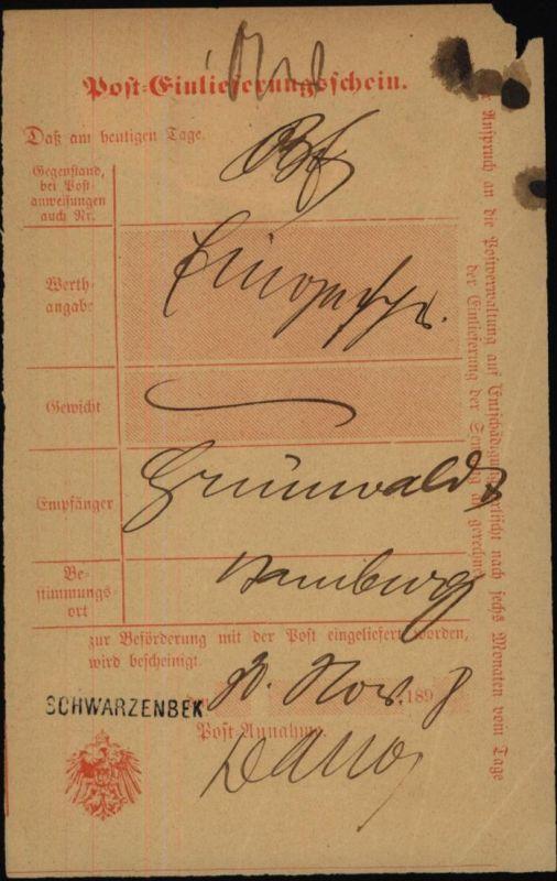 Altdeutschland Schleswig Holstein L1 Schwarzenbek auf Post-Einlieferungsschein