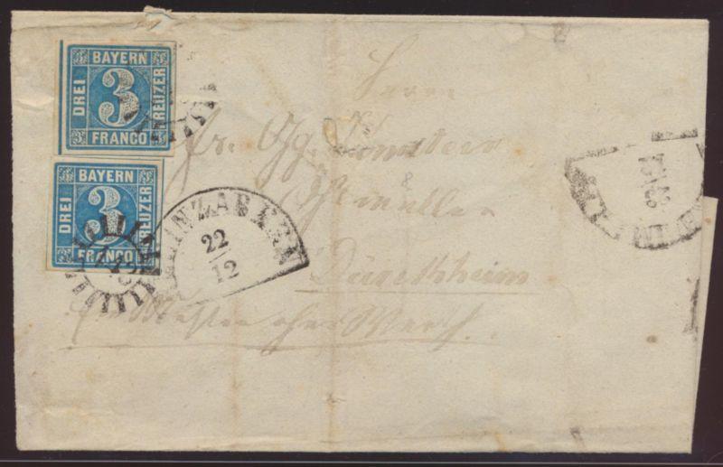 Bayern Brief 2II MR 443 + 3 Segmentstempel Rheinzabern Dürkheim Speyer 300,-plus