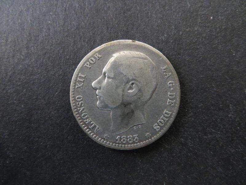 Münze Spanien Alfonso XII 1 Peseta 1883 Silber ss Schön: 164