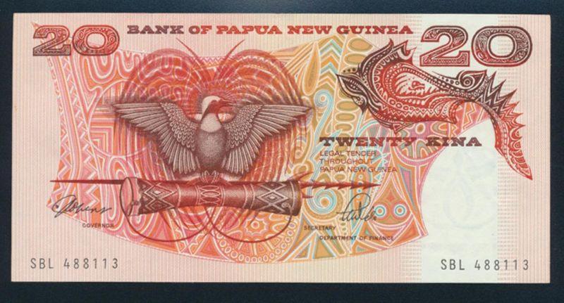 Geldschein Banknote Papua Neu Guinea 20 Kinea P-10a Signatur 3 UNC