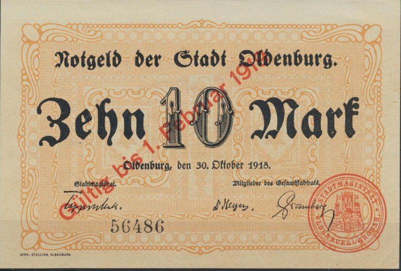 Geldscheine Banknote Notgeld Stadt Oldenburg 1918 10 Mark vorzüglich XF Geiger 1