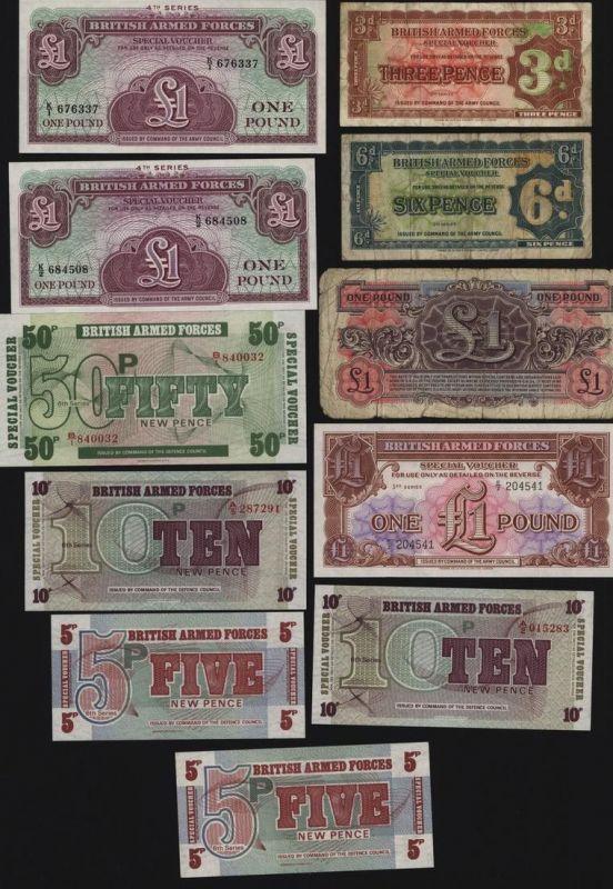 Lot Geldscheine Banknote British Armed Forces 2.-6. Generation meist I. UNC