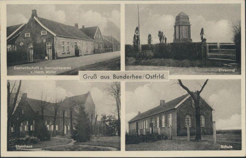 Ansichtskarte Bunderhee Ostfriesland Foto Schule Gastwirtschaft Müller Steinhaus