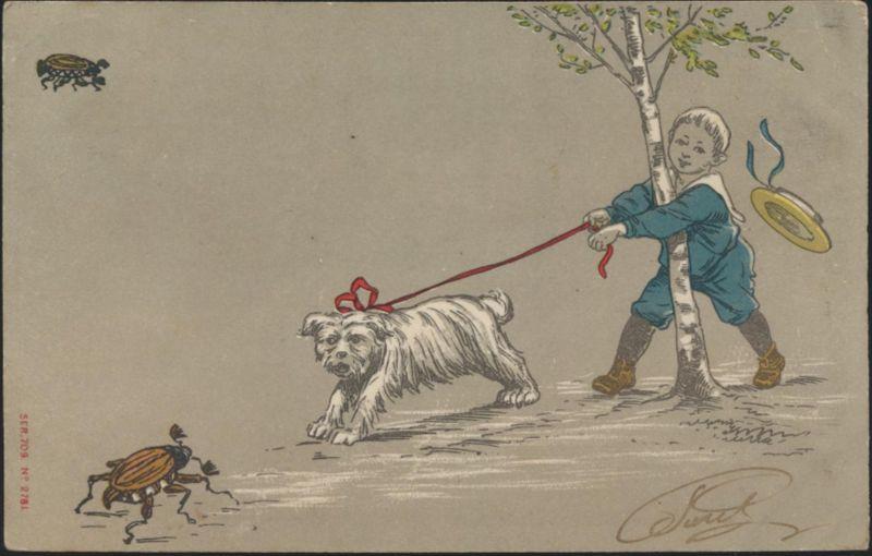 Ansichtskarte Künstler Tiere Hunde Maikäfer 1905