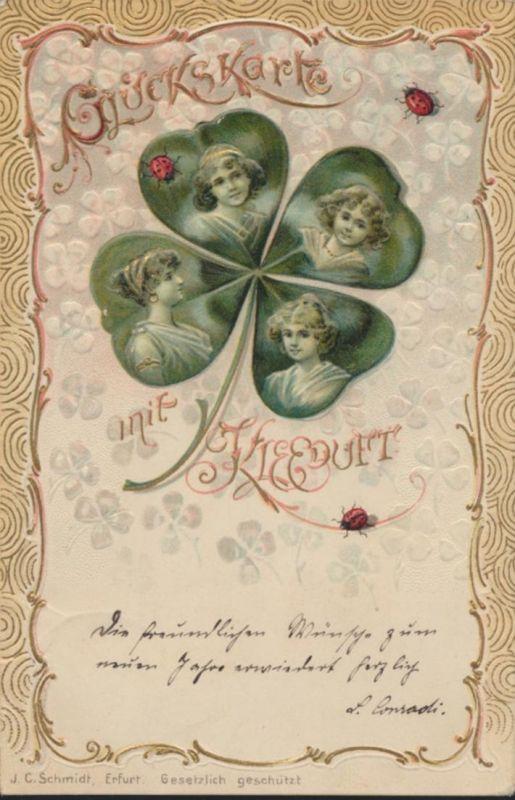 Ansichtskarte Prägekarte Jugendstil Art Nouveau Künstler Frauen Glückskarte