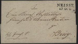 Preussen Vorphila Brief L2 Neisse Nysa Schlesien n. Brieg 1820 kompl. mit Inhalt