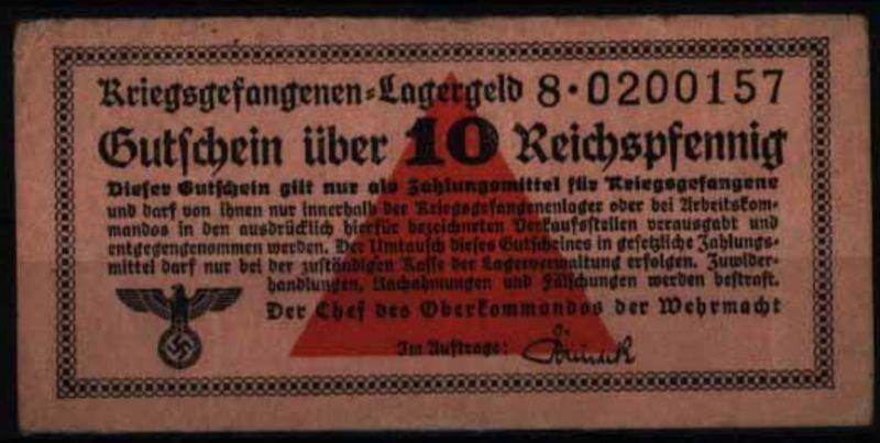 Geldschein Banknote Lagergeld Kriegsgefangenenlagergeld 516 S 8 II-III.Wehrmacht
