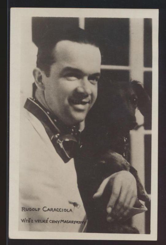 Foto Ansichtskarte Rudolf Caracciola Automobilrennfahrer Auto Sport mit Hund