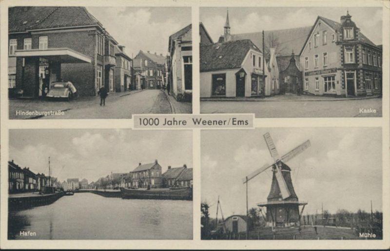 Ansichtskarte Weener Ems Foto Hindenburgstraße Kaake Hafen Mühle