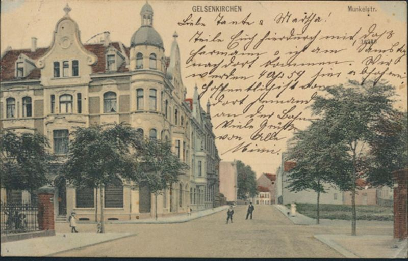 Ansichtskarte Gelsenkirchen Munkelstr. nach Köln 1907