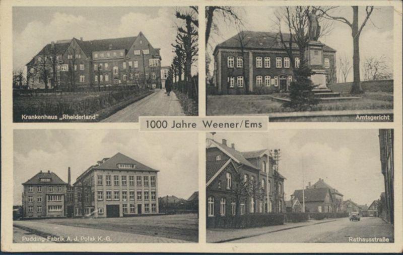 Ansichtskarte Weener Ems Foto Fabrik Polak Krankenhaus Amtsgericht Rathausstraße