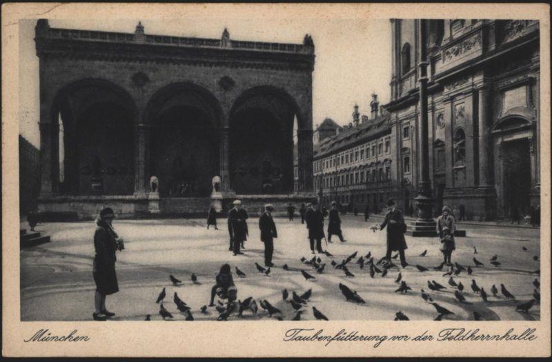 Ansichtskarte München Taubenfütterung Feldherrnhalle Werbe-St. Postauto n. Köln-